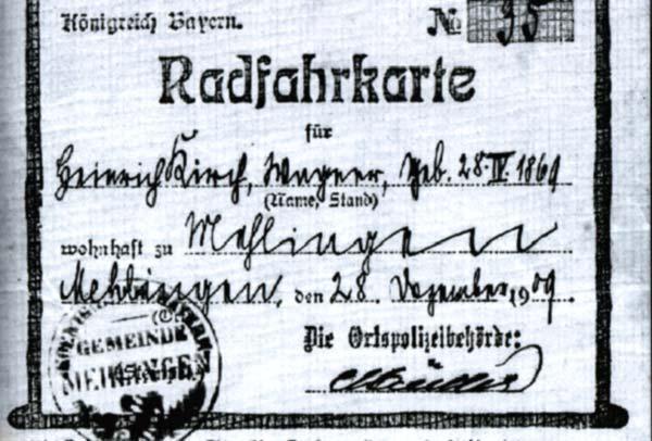 Radfahrkarte von 1909